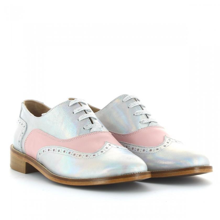 Sapato Prata/Rosa Oxford de Couro Feminino