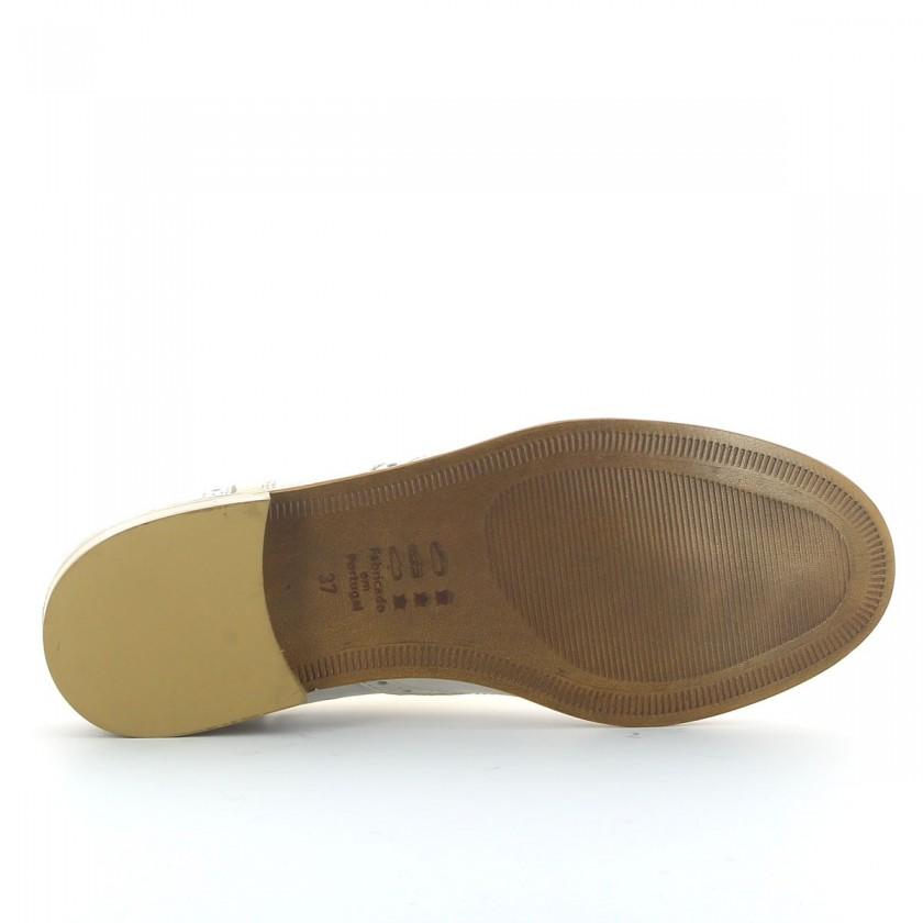 Sapato Branco/Ouro Oxford de Couro Feminino