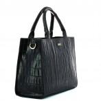 Black Croco Lady Bag Rufel