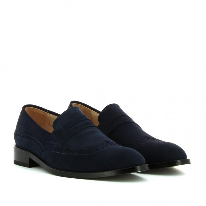 Sapatos homem camurça azul Bruber