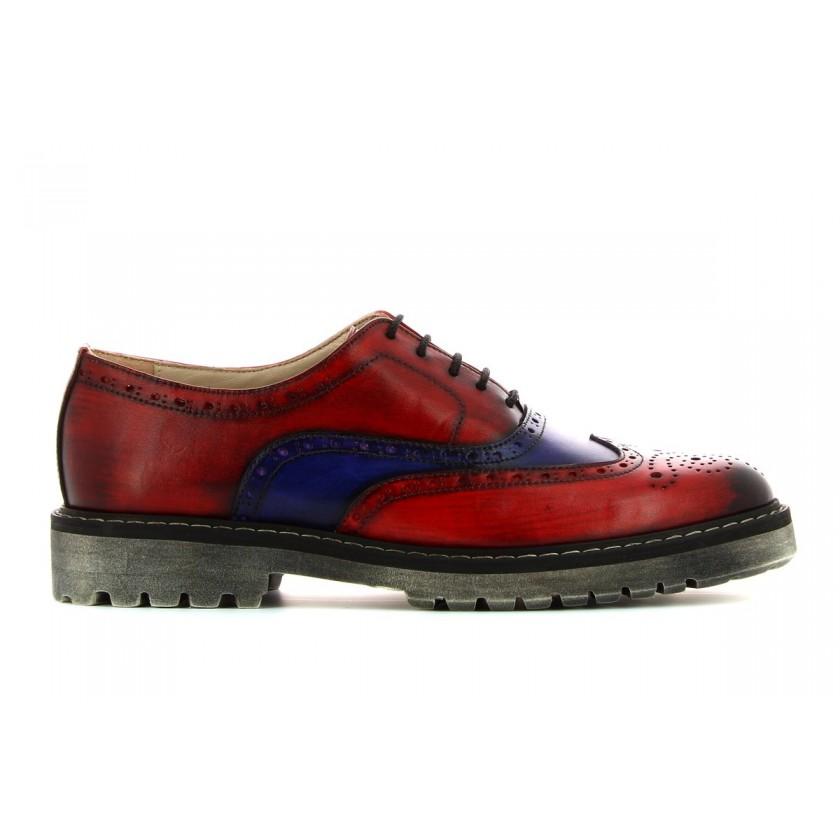 Sapatos vermelhos com roxo homem pintados à mão