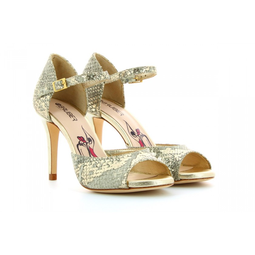 Sandales de danse dorées de...