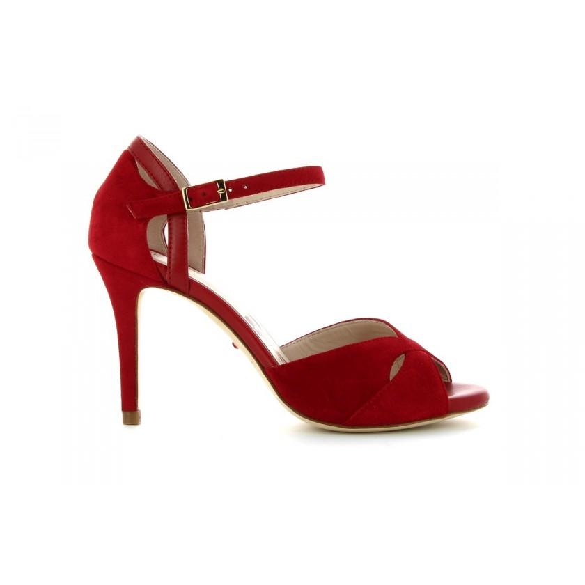 Sandálias Camurça Vermelha Senhora