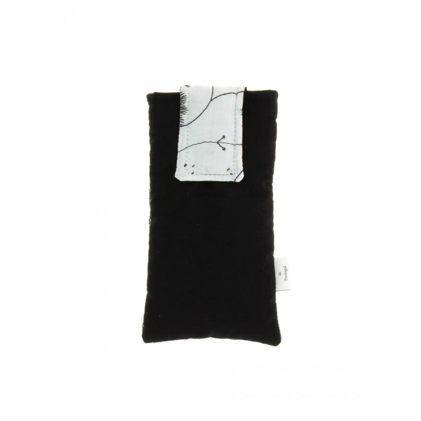 Bolsa de telemóvel de por à cintura preto com branco