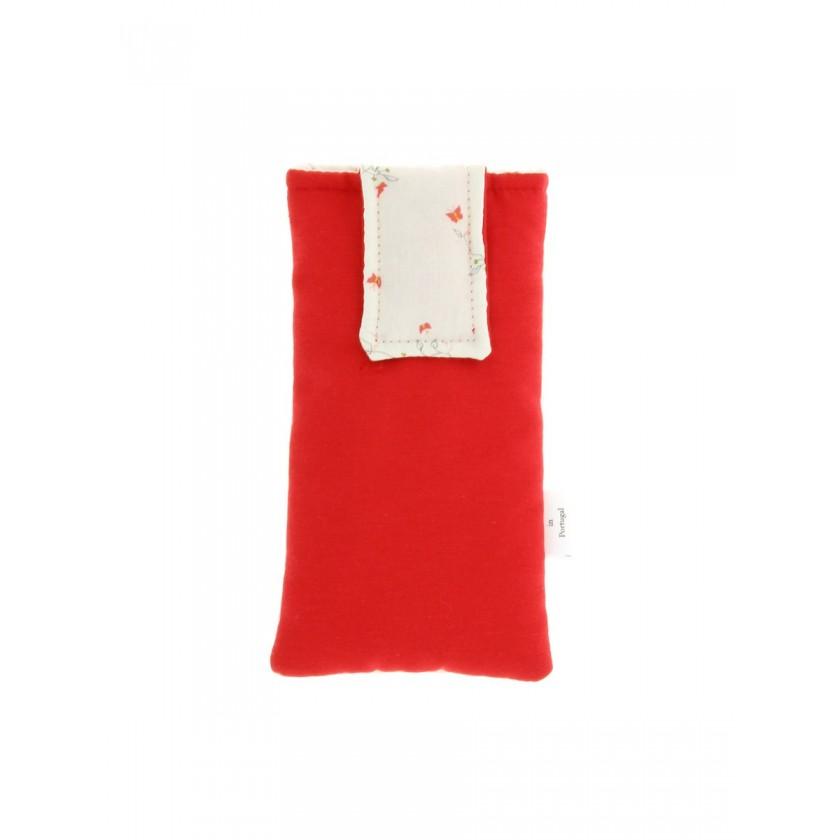 Bolsa de telemóvel de por á cintura vermelho com estampado
