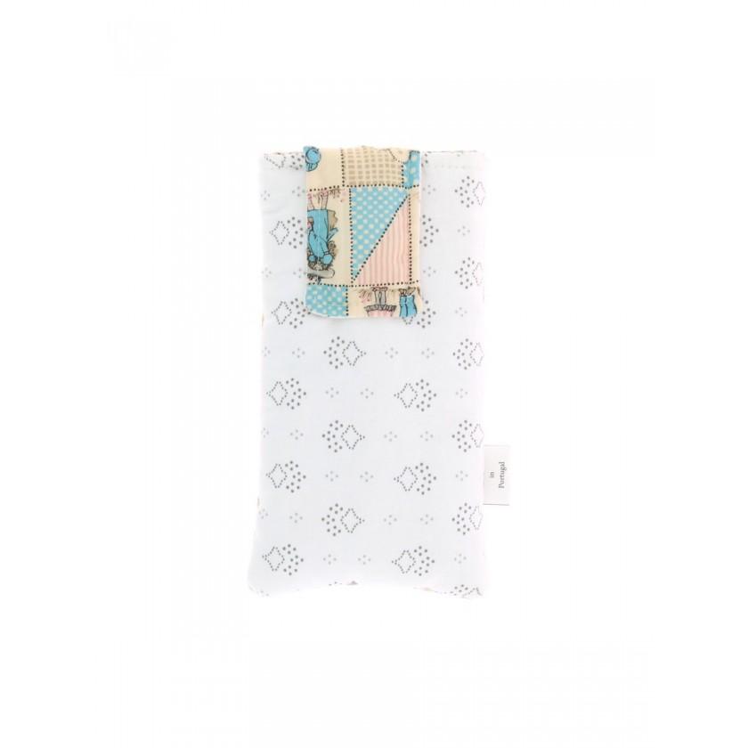 Bolsa de telemóvel de por á cintura em rosa/beige e azul