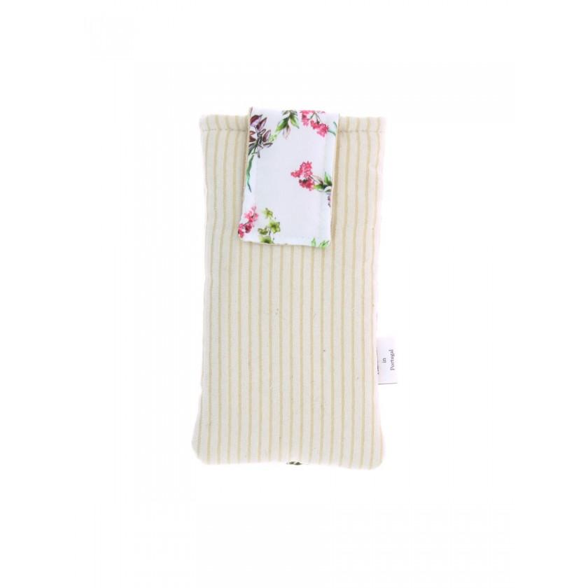 Bolsa de telemóvel de por à cintura bege com estampado