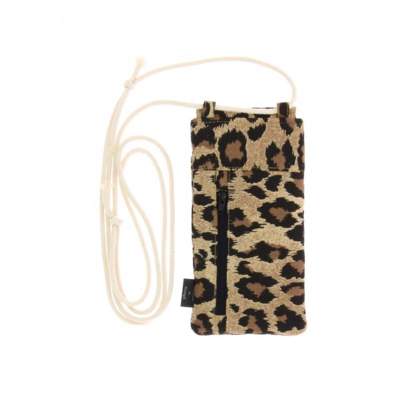 Bolsa de telemóvel de pendurar em leopardo