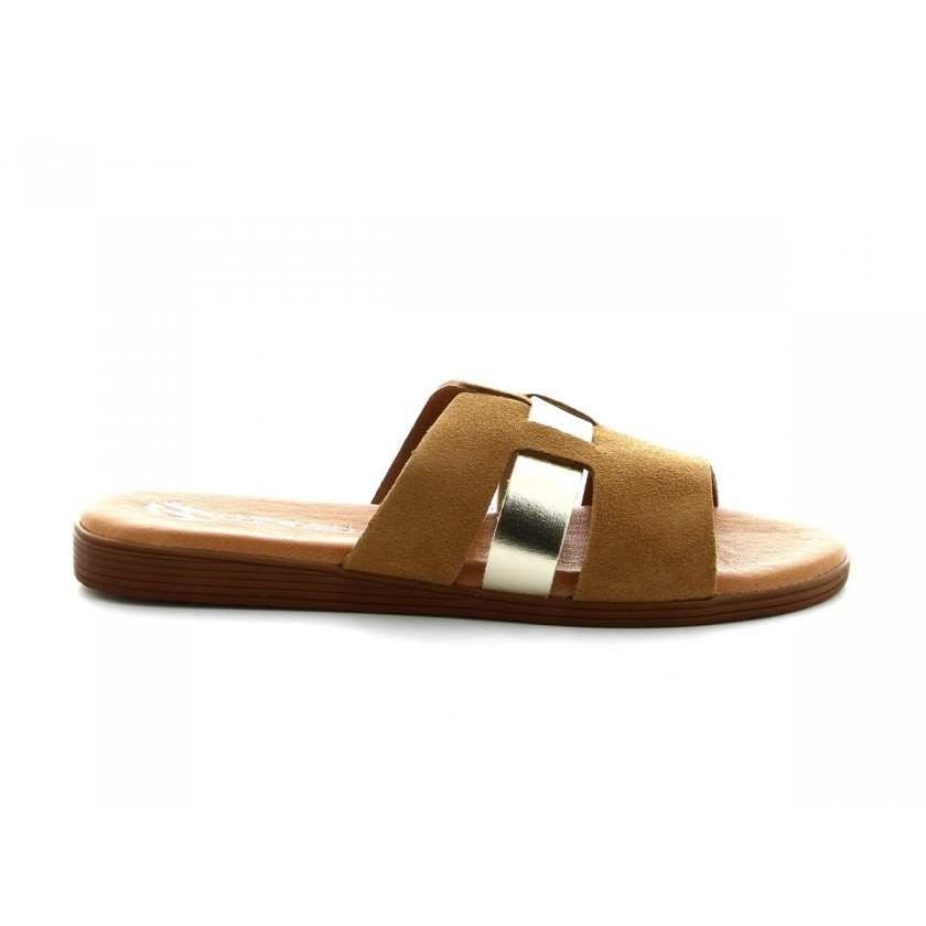 Ladies Beige Suede Slippers with Gold