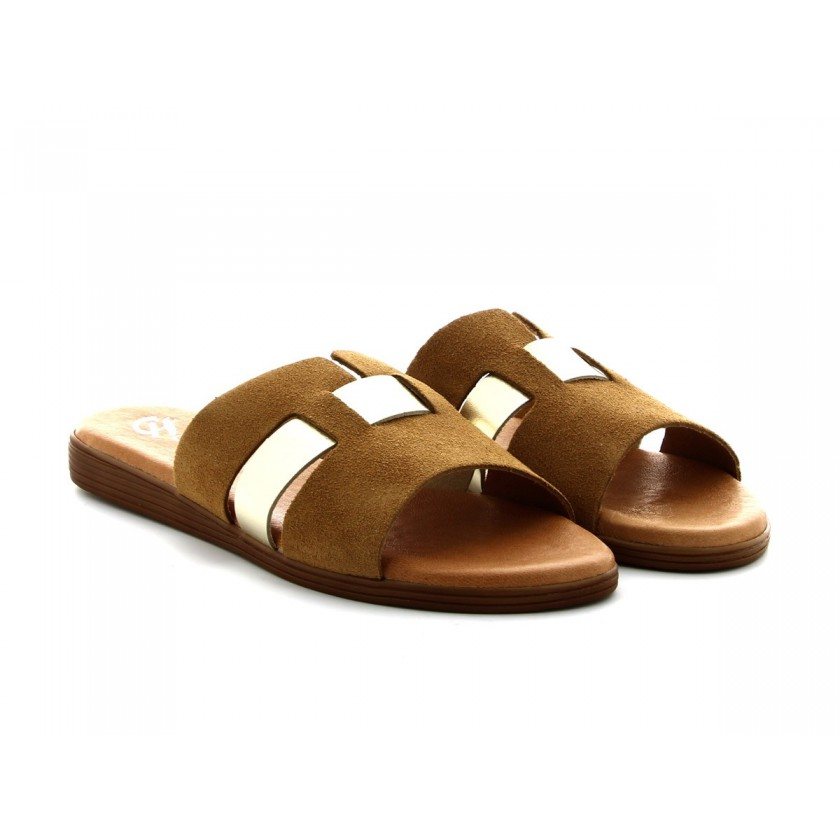 Ladies Beige Suede Slippers...