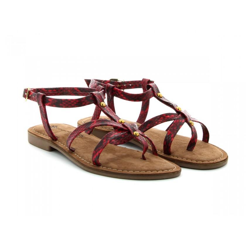 Sandálias Cobra Vermelha Senhora