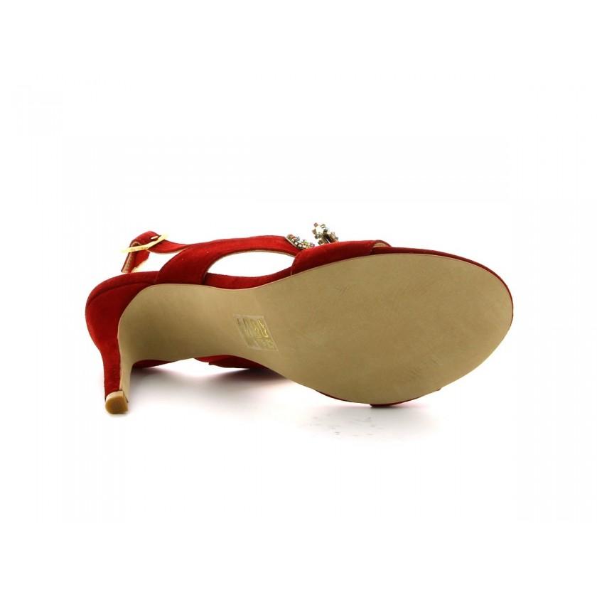 Sandálias Vermelhas Camurça Senhora