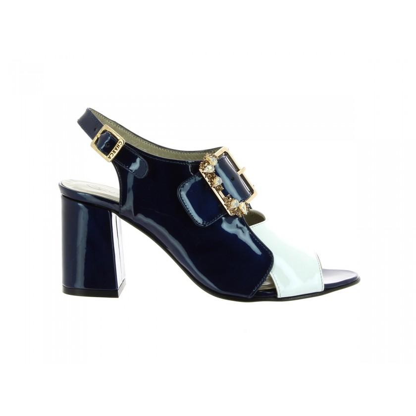 Sandália Verniz Azul/Branco Senhora