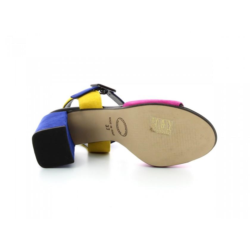 Sandálias Camurça Amarelas/Azuis/Rosa