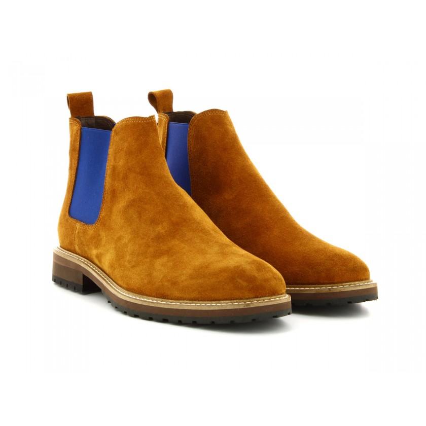 Botas Camurça Camel com Azul de Homem