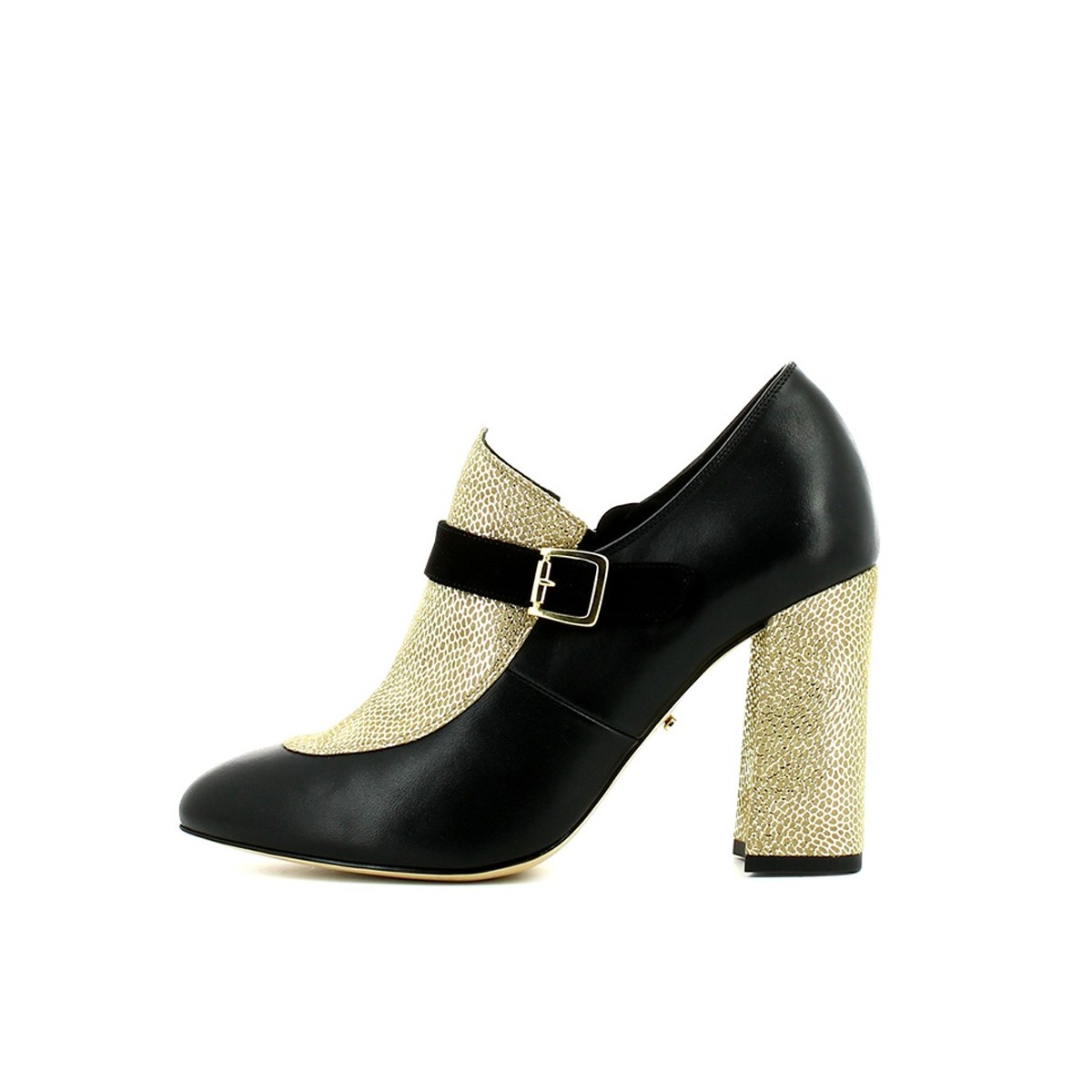 Sapato senhora preto ouro
