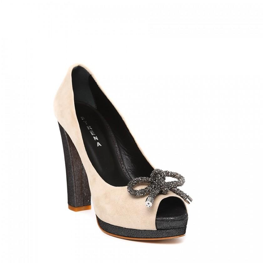 Sapatos Senhora Bege Peep...