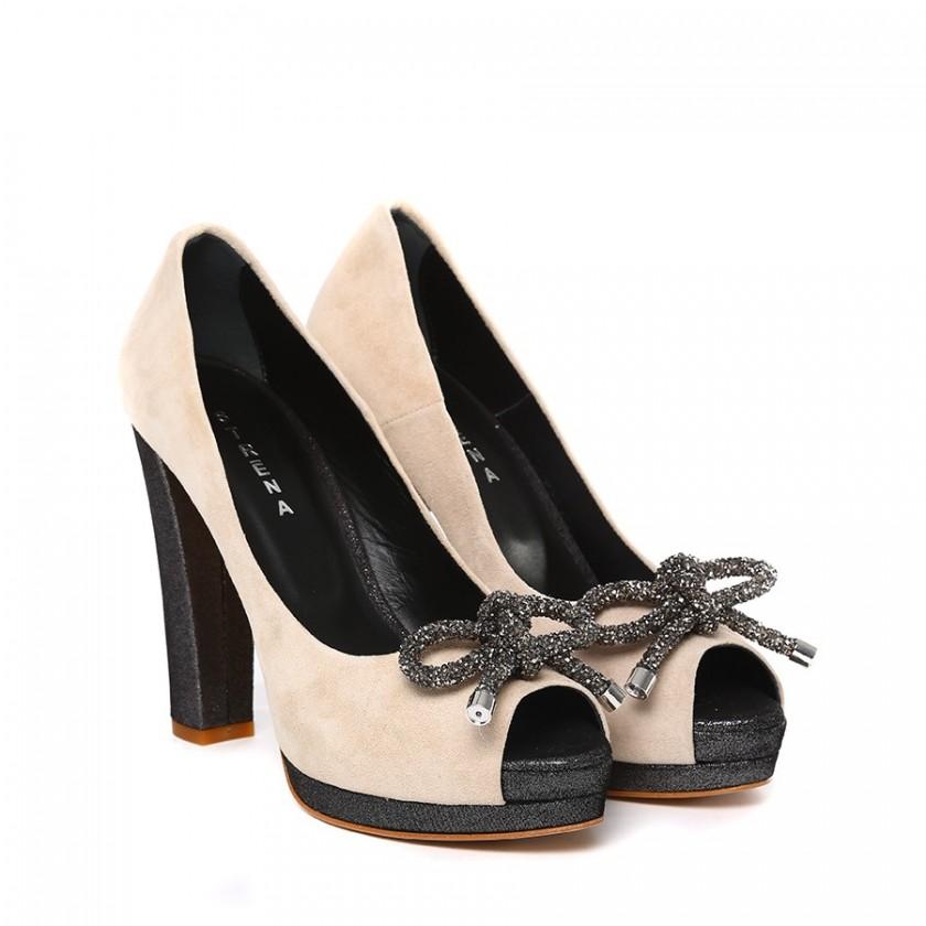 Sapatos Senhora Bege Peep Toe de Salto Grosso