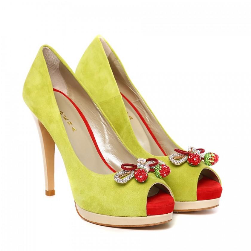 Sapatos Peep Toe Lima de Salto Alto Meia Pata