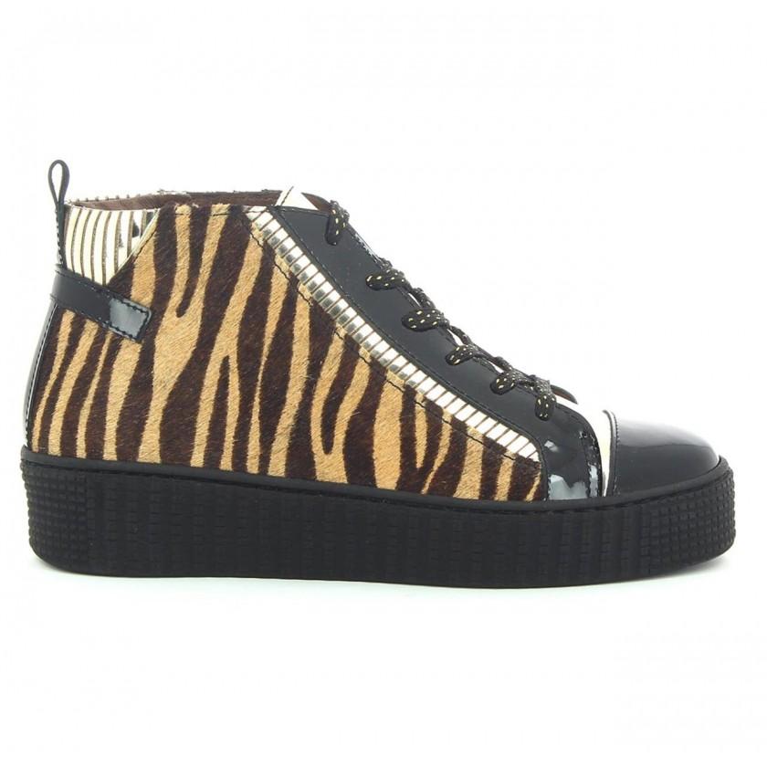 Botins Senhora Zebra Bege