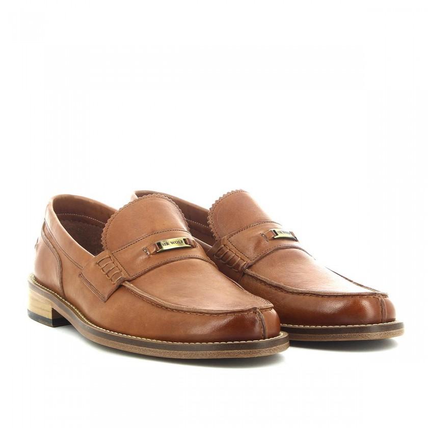 Sapatos Loafer Homem Camel com Sola Couro Sir Wolf